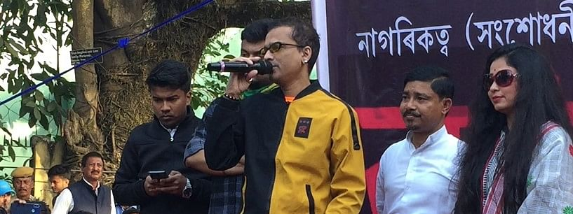 Assam's heartthrob Zubeen Garg raising his voice against CAB in Guwahati on Friday