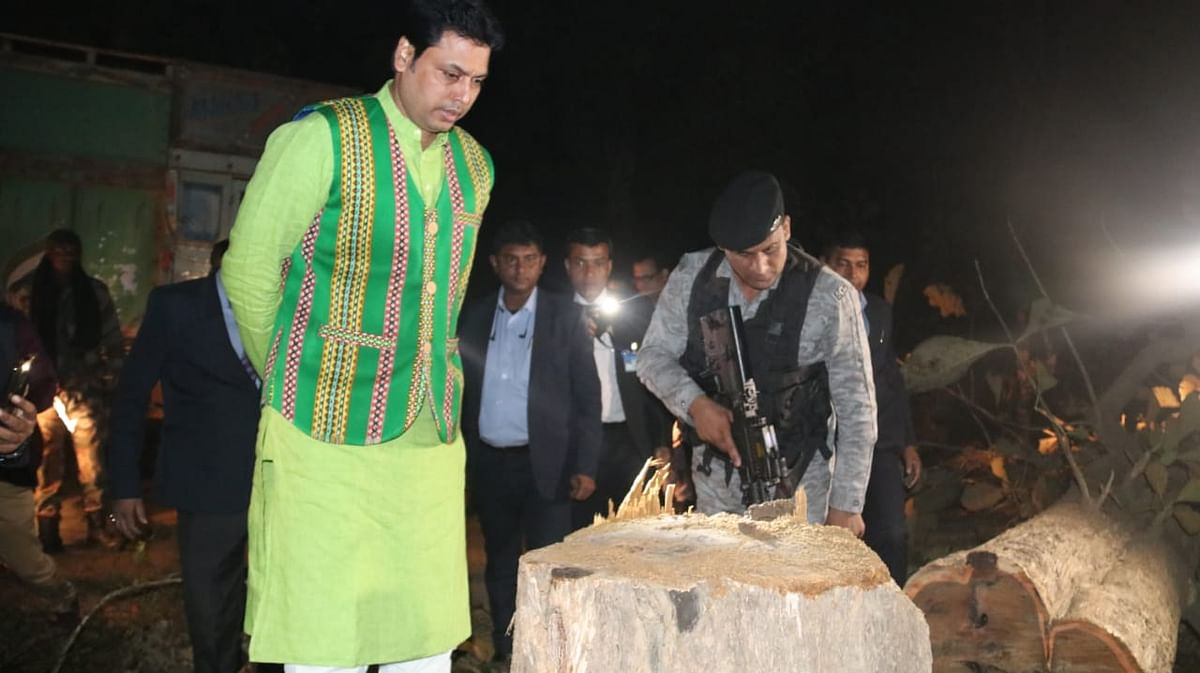 Three timber smugglers were apprehended in presence of Tripura chief minister Biplab Kumar Deb on December 24