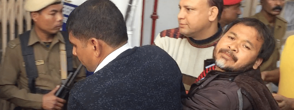KMSS adviser Akhil Gogoi being produced at NIA court in Guwahati on Tuesday