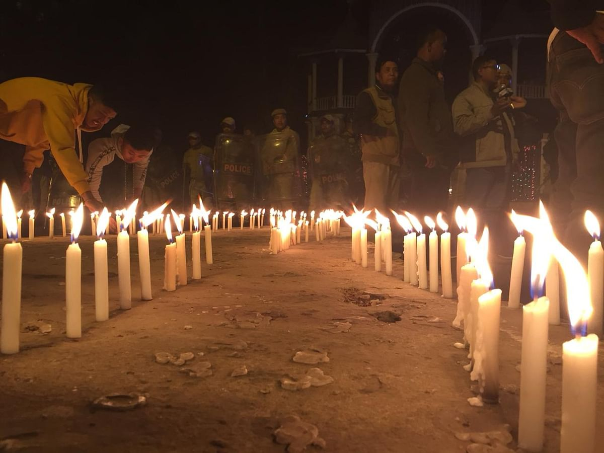 Candle light vigil in support of anti-CAB protests