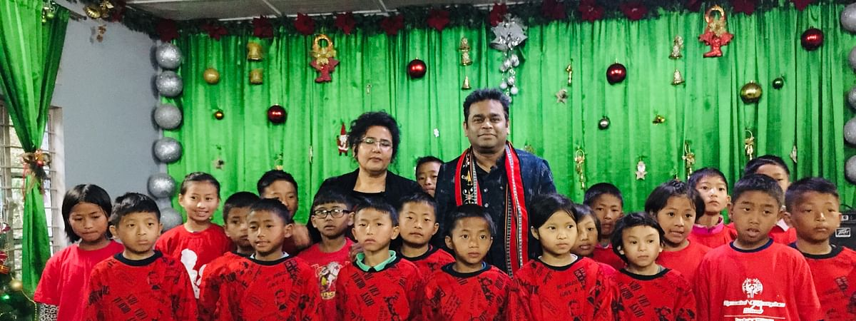 Renowned musician AR Rahman with children from theKohima Orphanage and Destitute Home at Bypass in Nagaland on Monday