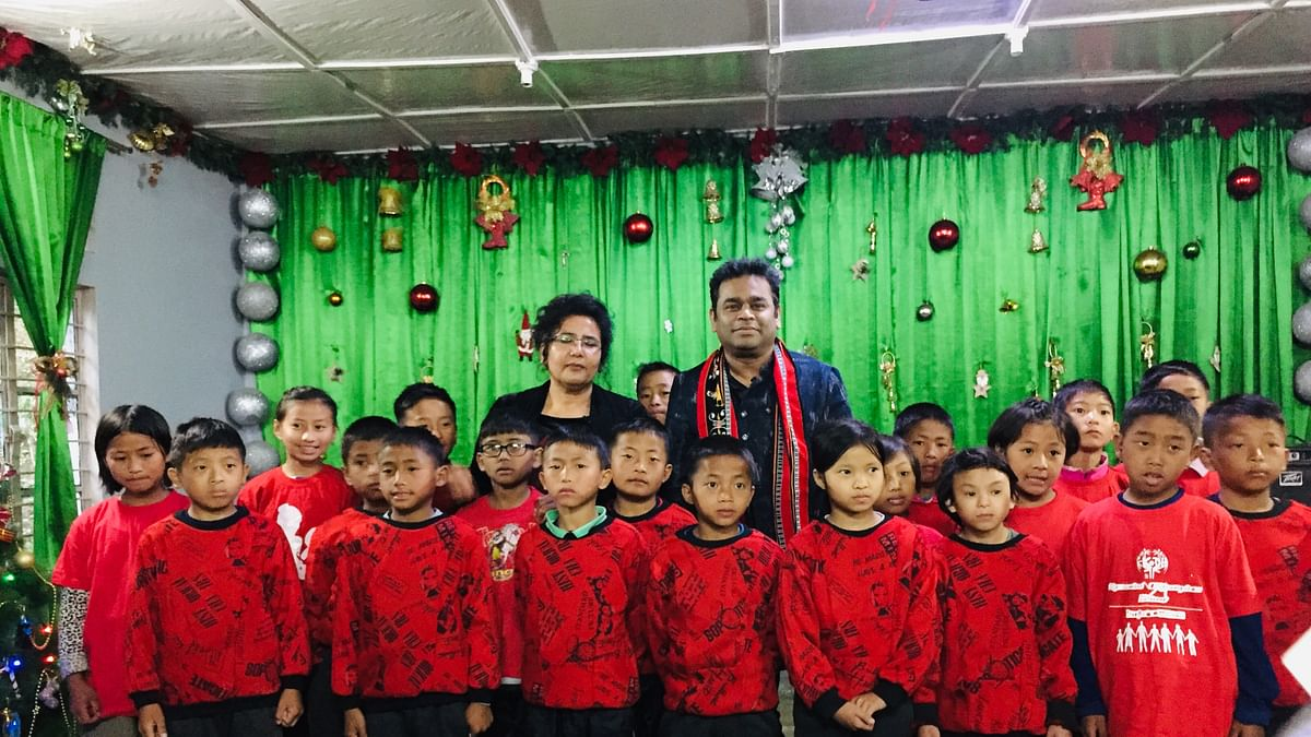 Renowned musician AR Rahman with children from the Kohima Orphanage and Destitute Home at Bypass in Nagaland on Monday