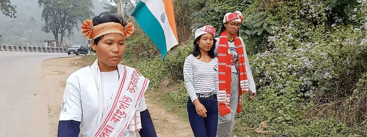 Nijara Phukan (left) has already covered around 300 km and plans to complete the journey by March 10 next year
