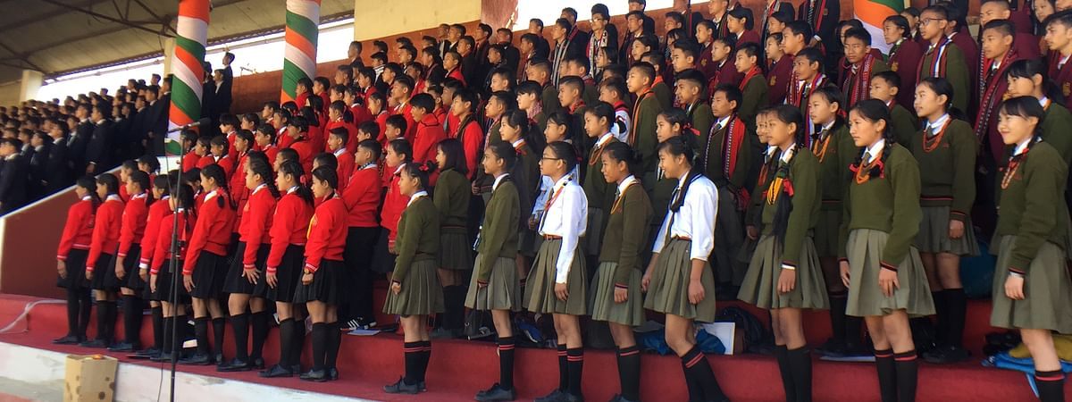 Students performing a song in Kohima