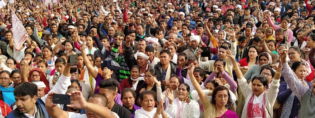 The protesters raised slogans against BJP government