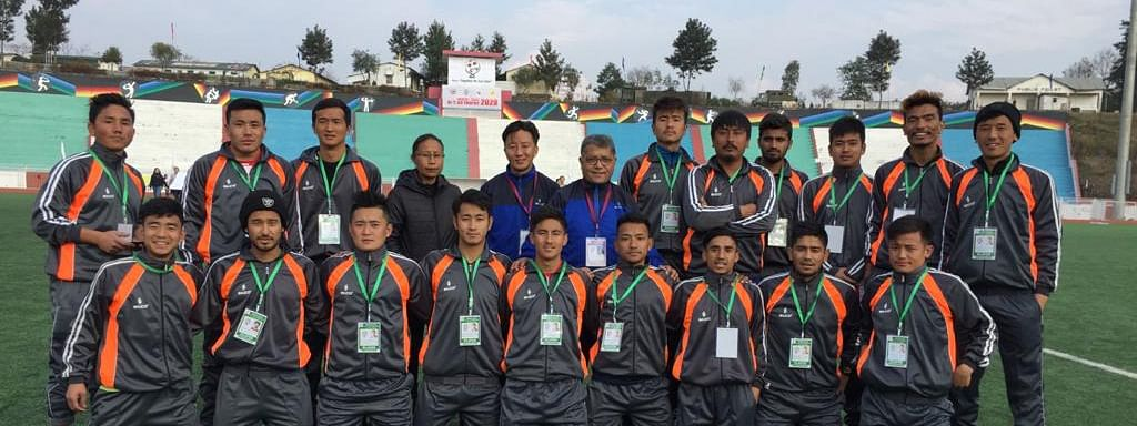 Sikkim football team participating at the North East Dr T Ao Trophy behin held in Kohima, Nagaland