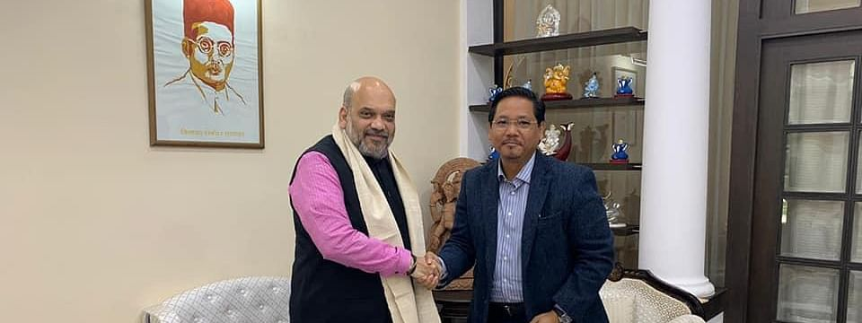 Meghalaya chief minister Conrad K Sangma meeting Union home minister Amit Shah in New Delhi on Thursday