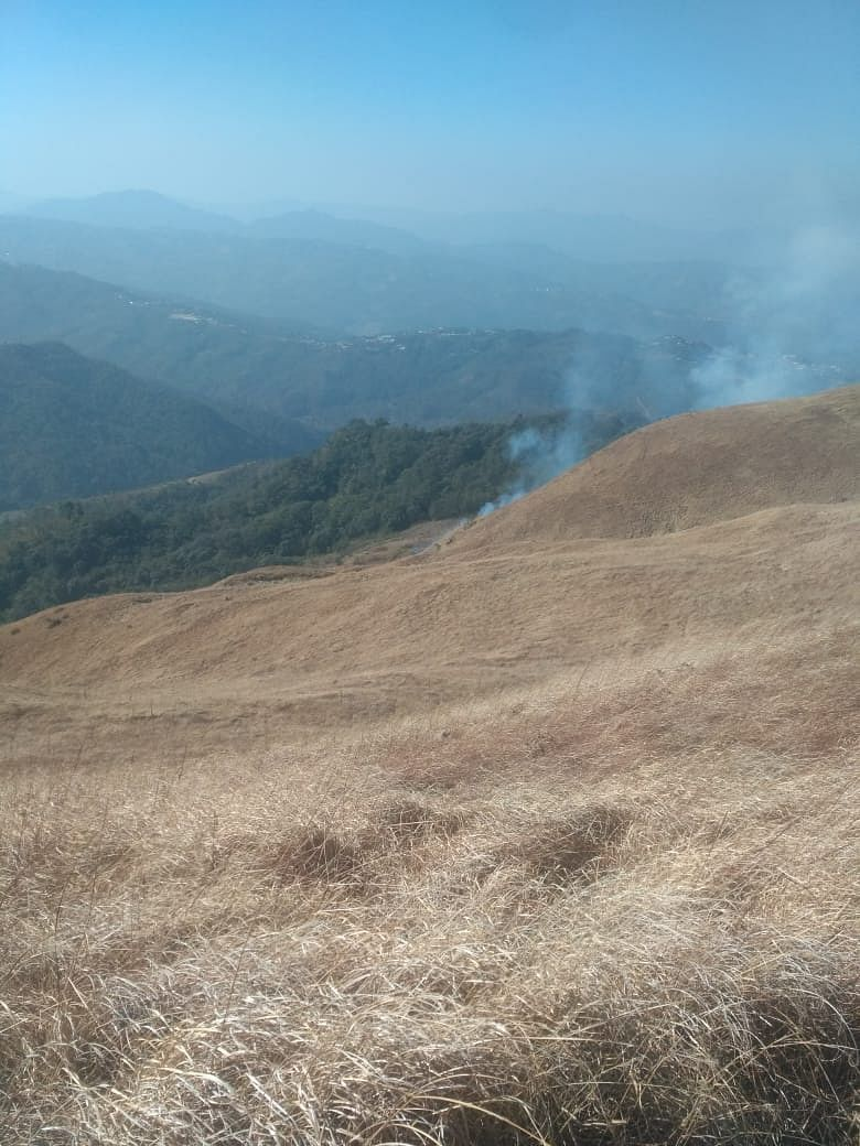 Forest fire at Shirui Peak in Manipur's Ukhrul district on Friday