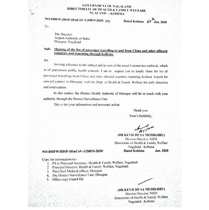 The letter issued by the directorate of health and family welfare to the director of Airport Authority of India, Dimapur