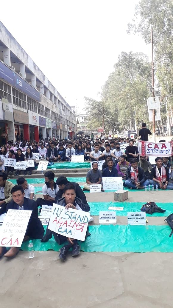 Students of colleges in and around Dimapur taking part in the public protest on Saturday