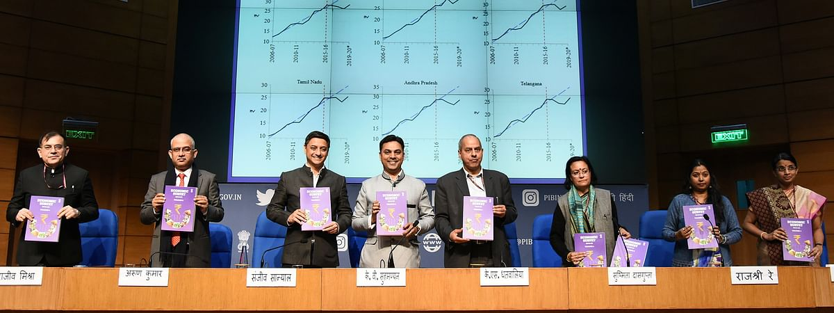 Chief economic adviser (CEA) Dr Krishnamurthy V Subramanian at a press conference regarding the Economic Survey 2019-20 with other dignitaries