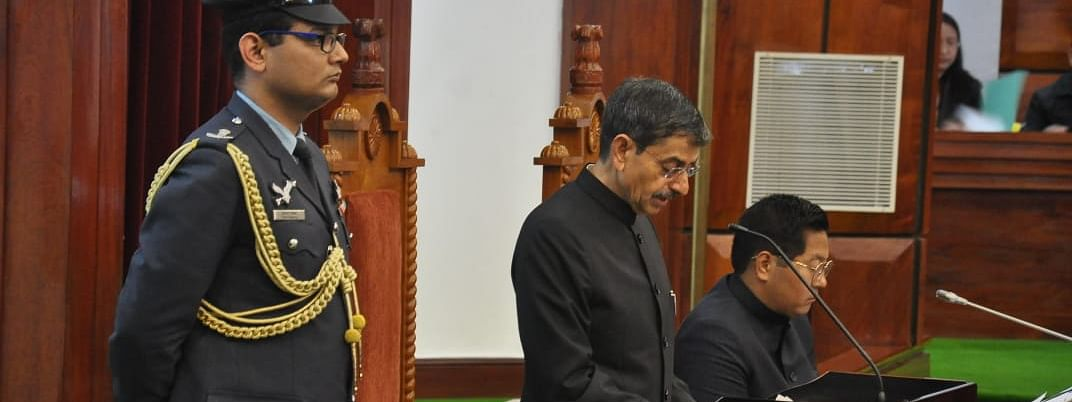 Governor of Nagaland and Meghalaya RN Ravi addressing the 5th session of the 13th Nagaland Legislative Assembly on January 17 this year