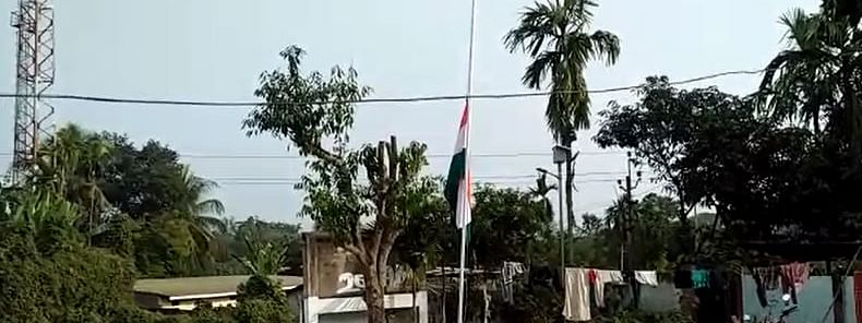 On Monday afternoon the national flag was seen waving at half-mast in the office premises of water resources department, Diphu
