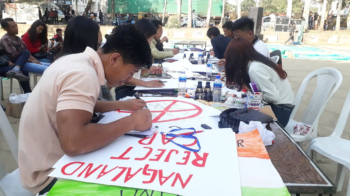 The flair of the youths was also displayed with paintings and various other placards that they made during the protest