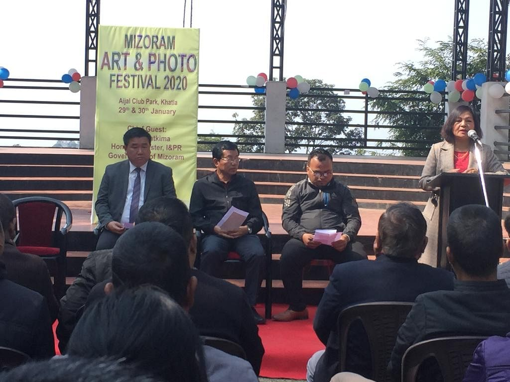 Dignitaries at the inauguration of the Mizoram Art and Photo Festival 2020 on Wednesday