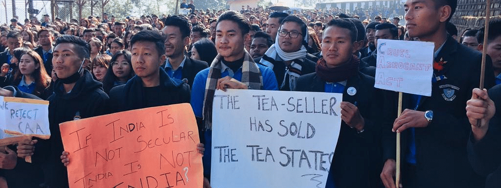 Students of St. Joseph's (Autonomous) College Jakhama protesting against the Citizenship (Amendment) Act, outside Raj Bhavan Kohima on Wednesday