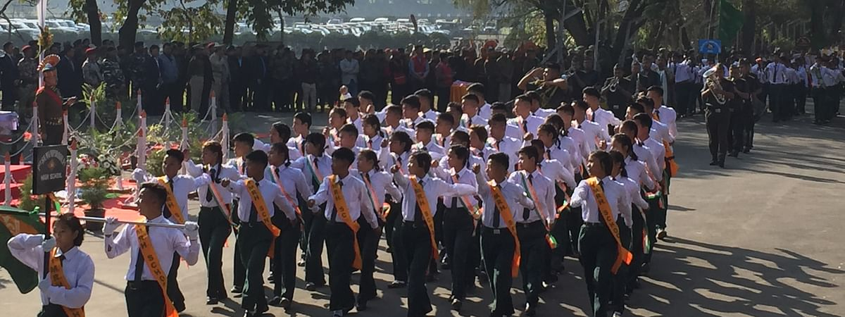 School students participating at the 71st Republic Day celebration in Imphal on Sunday