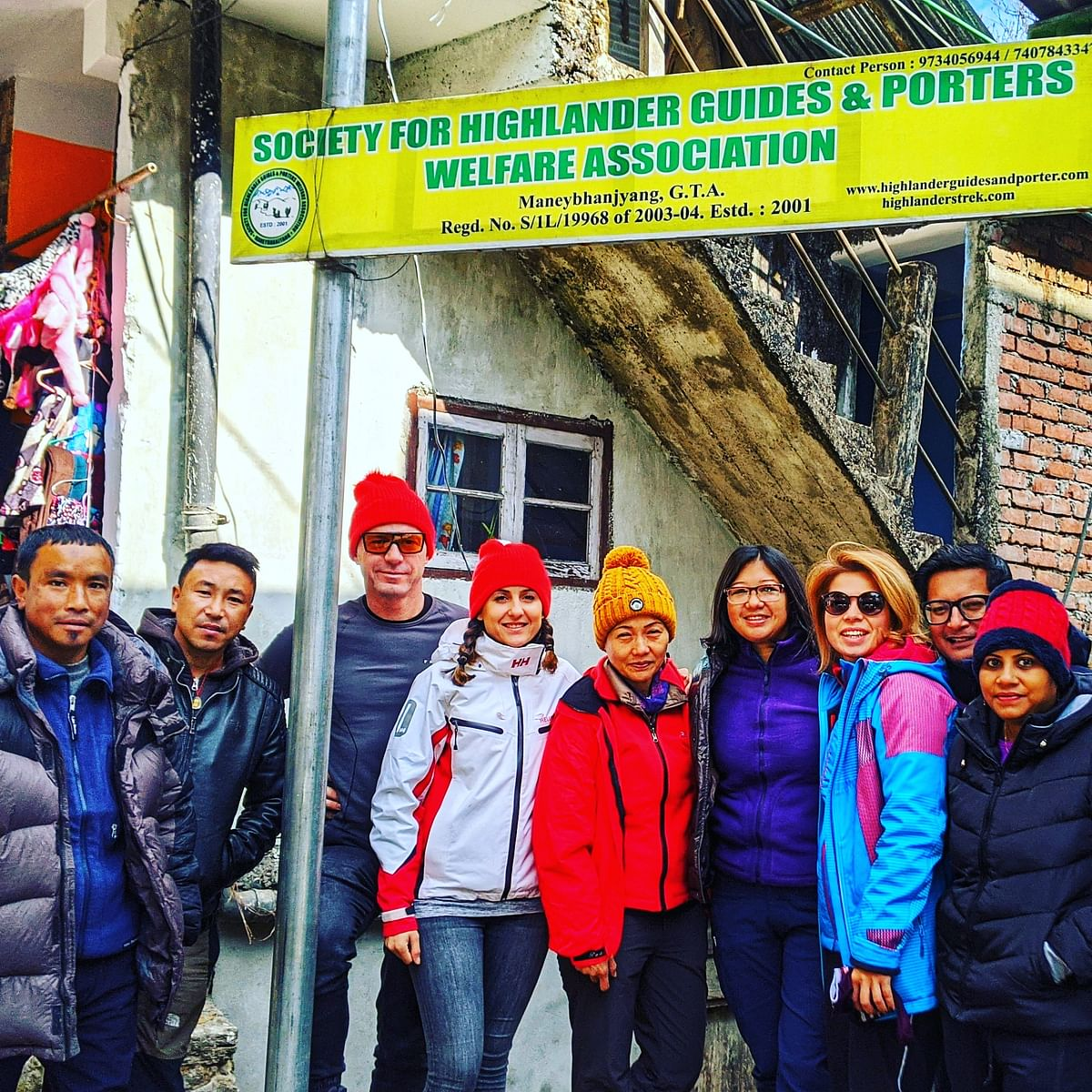 (Left to right) Trekkers and their guides at Manebhanjyang, Indo Nepal border and the gateway to Singalila Range: Guides Uttam and Dhiren, trekkers  Lassi, Diana from Hungary, Omita from Kalimpong, trek organiser Sujata Mukhia of Relimai from Kalimpong, Julija from Lithuania, Rajeev Chettri (the author, from Sikkim) and Priya from Mumbai