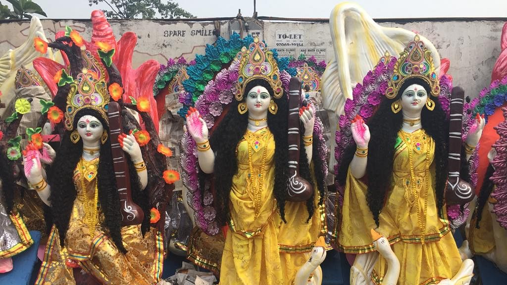 Goddess Saraswati being the goddess of education, all educational institutions were seen making arrangements for the festival
