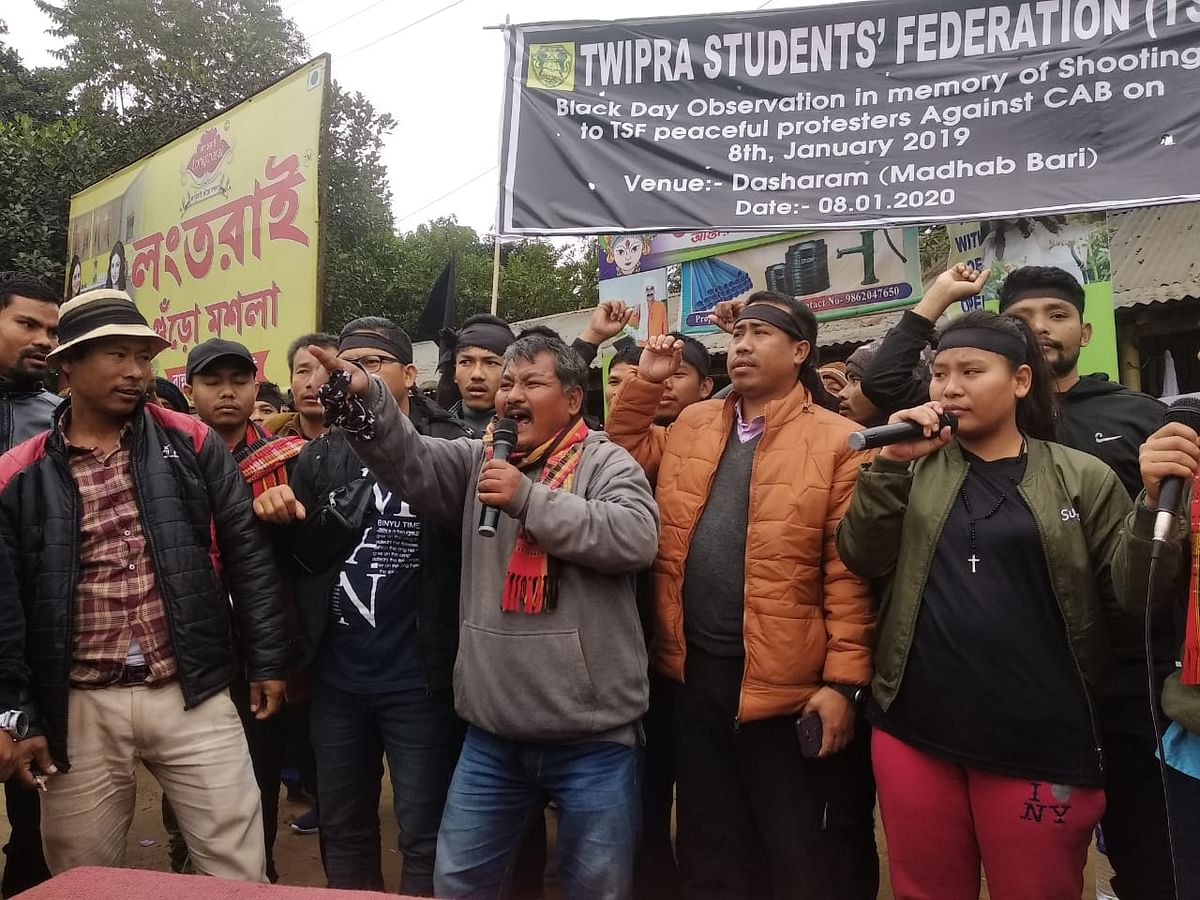 Tripura students observe black day against police firing