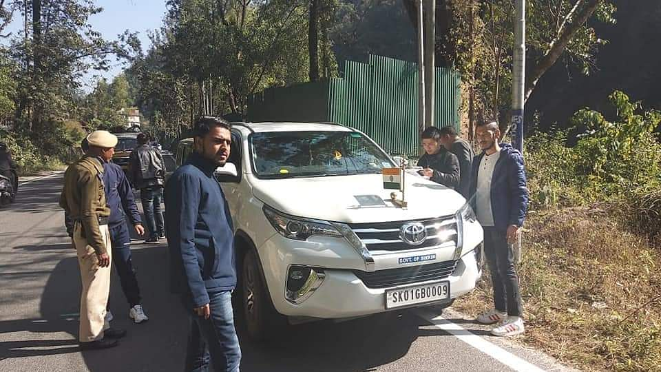 Sikkim minister Kunga Nima Lepcha's official vehicle being checked during the enforcement drive for implementation of the new Motor Vehicles Act, 2019