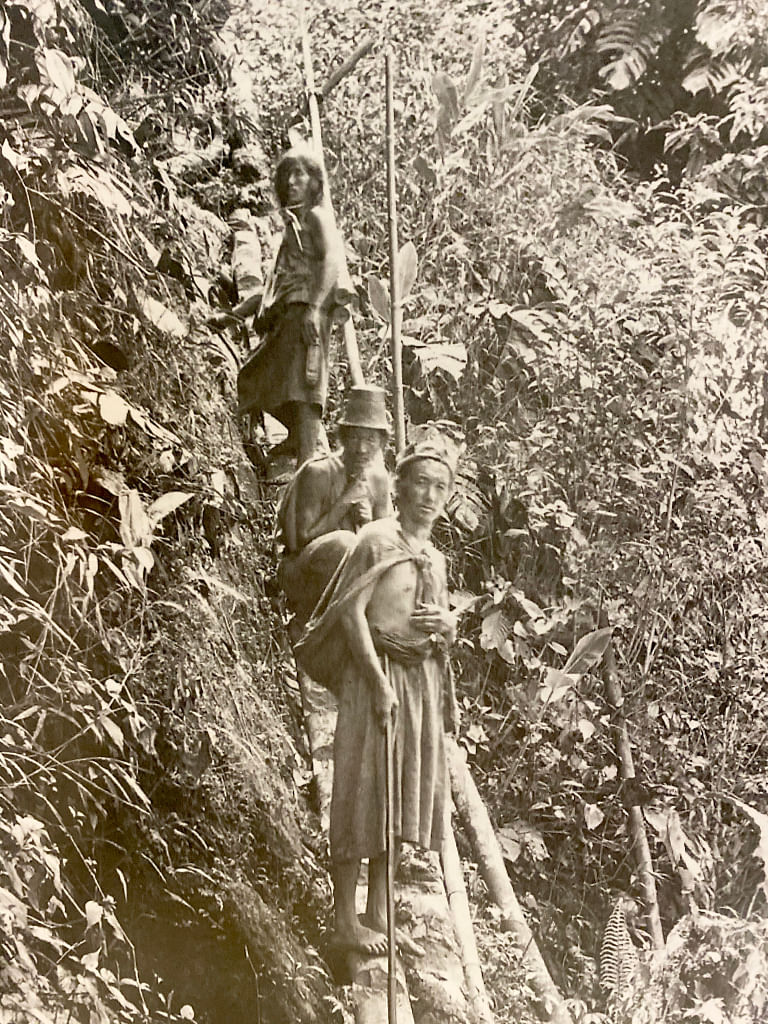 Lepcha men on the road between Lengthen and Be in Dzongu in 1894. Photo from the private collection of Johnston & Hoffman series on Sikkim