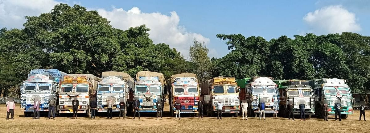 Nine loaded trucks carrying smuggled Burmese teak from Kohima to Dimapur were stopped at the check-post