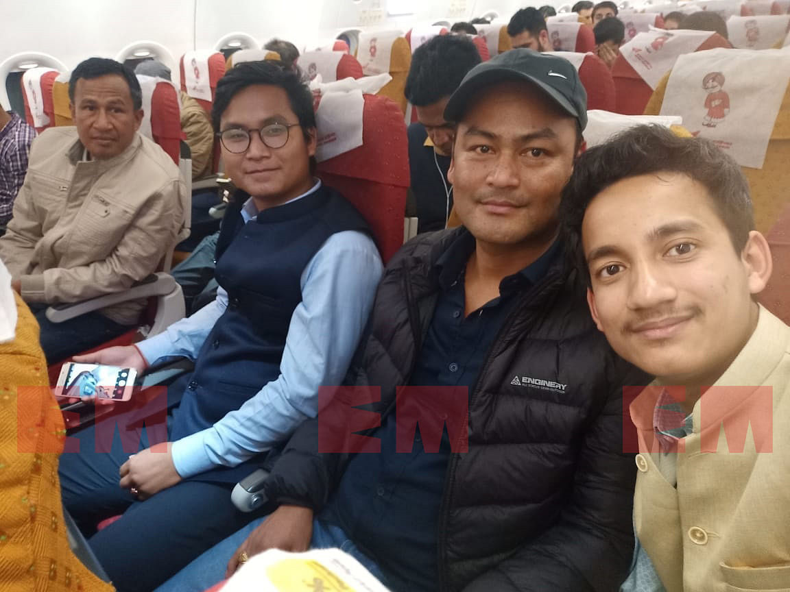 NDFB-S supremo B Saoraigwra (2nd from right) on board an Air India flight from Imphal to New Delhi on January 12 to sign the suspension of operations (SoO) agreement with the Centre and Assam government