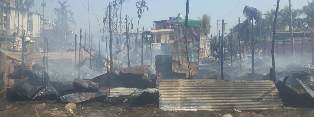 Smoke coming out from Chungaizaeang Rongmei Colony in Dimapur's Burma Camp area in Nagaland on Saturday afternoon