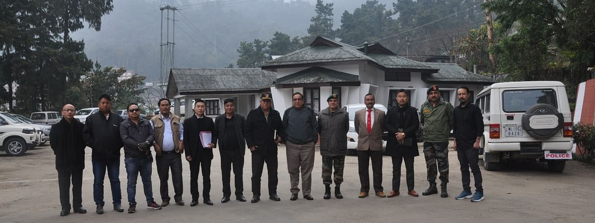 Members of the NSCN groups along with chairman,Ceasefire Monitoring Group/ Ceasefire Supervisory Board (CFMG/CFSB) Lt Gen Shokin Chauhan, DGP Nagaland John Longkumer and others, outside the CFMG/CFSB officeon Tuesday