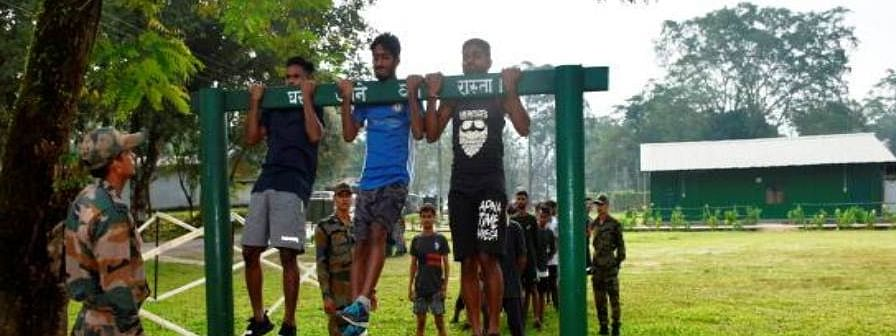 Youths being trained by Indian Army to take up the recruitment challenge in Tezpur, Assam