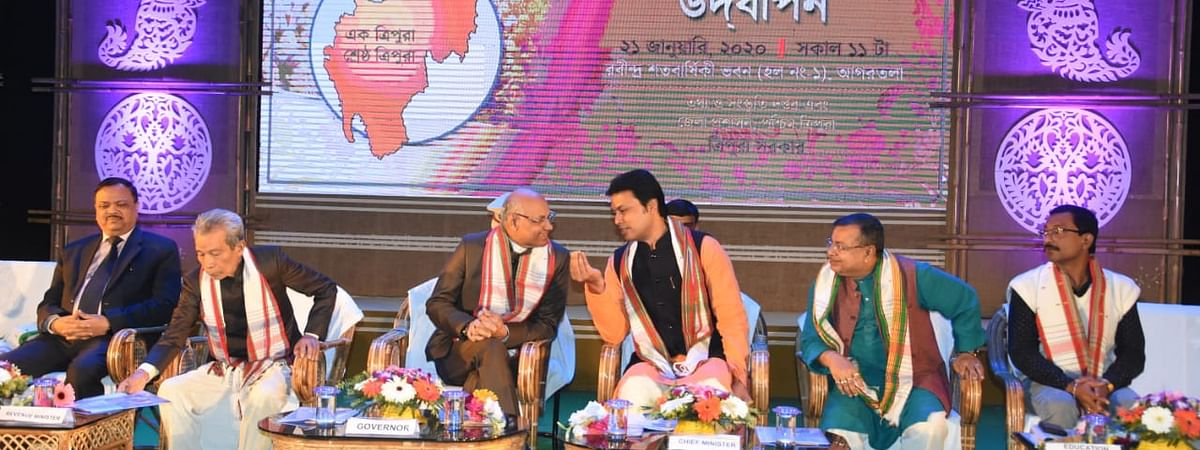 Tripura governor Ramesh Bais with chief minister Biplab Kumar Deb and others during the celebration of 48th Statehood Day on Tuesday