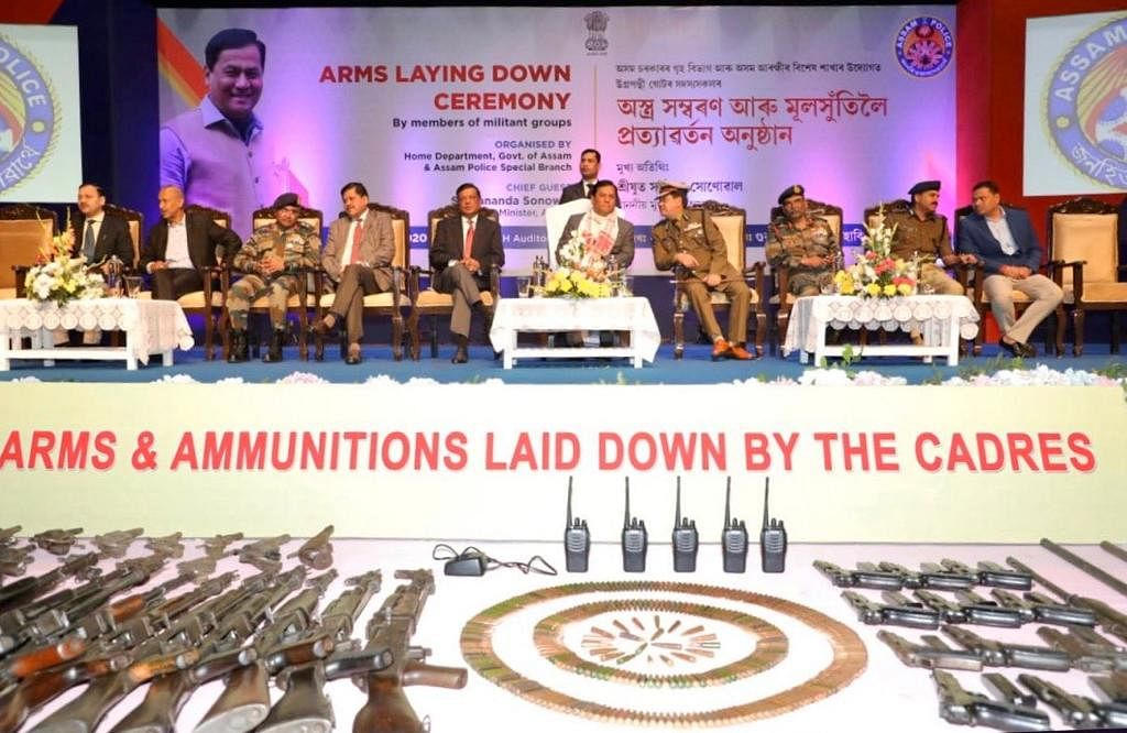 Assam CM Sarbananda Sonowal during the arms laying down ceremony in Guwahati on Thursday