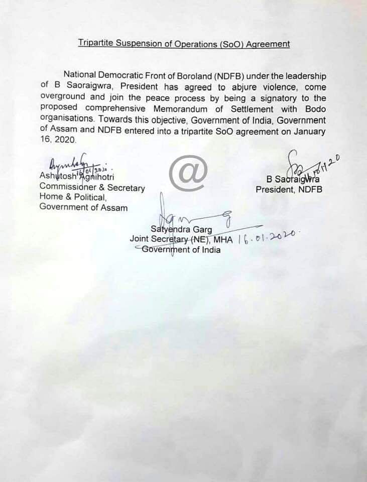 The tripartite suspension of operations agreement signed by NDFB-S with the Centre and Assam government on Thursday