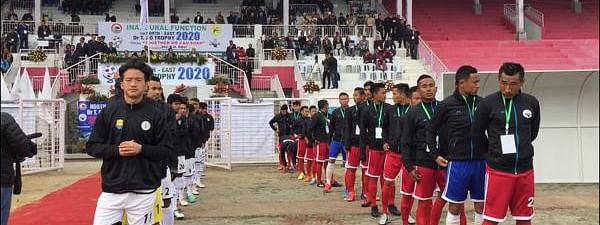 Players of Arunachal Pradesh (left) and Nagaland (right), ahead of the first match played between the two teams at Indira Gandhi Stadium, Kohima on Monday