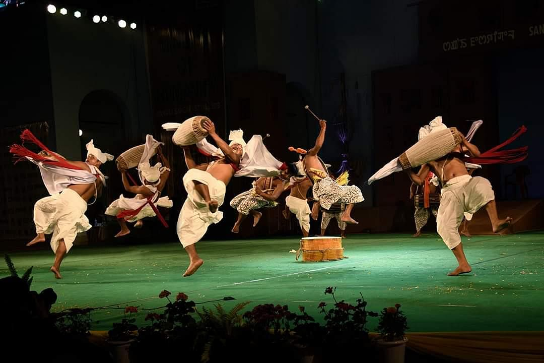 Pung Cholom is also a combination of sound and movement, which demands acrobatic skills as it requires jumping and swirling