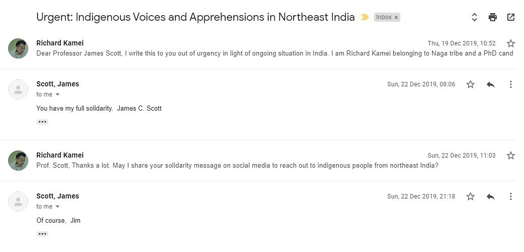 American political scientist Professor James Scott showing full solidarity with the people of Northeast India