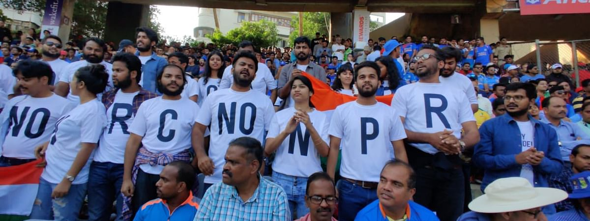 A still from the January 15, 2020 ODI match in Mumbai's Wankhade stadium where students demonstrated a silent protest while supporting the Indian team