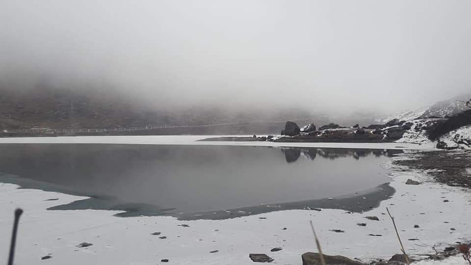 Tsomgo Lake, a popular tourist destination in East Sikkim, remains frozen in winter