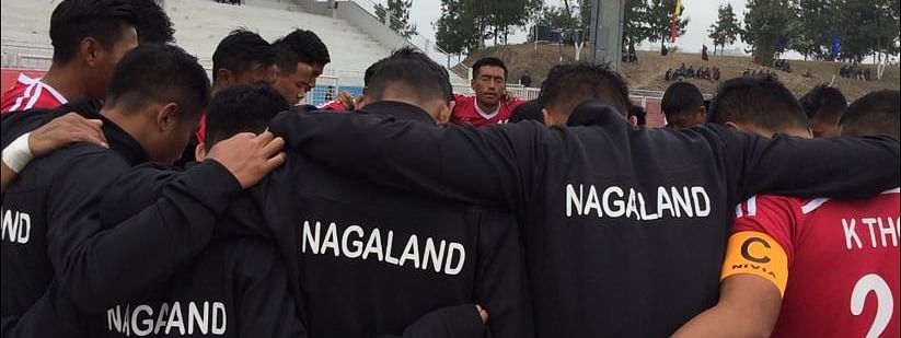 Nagaland football team ahead of its first match against Arunachal Pradesh in Kohima on Monday