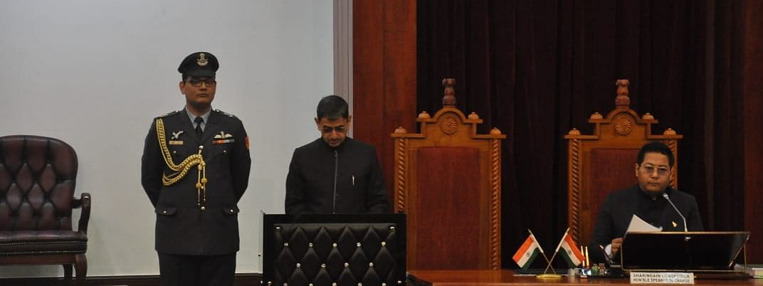 Nagaland governor RN Ravi addressing the fifth session of the 13th Nagaland Legislative Assembly in Kohima on Friday