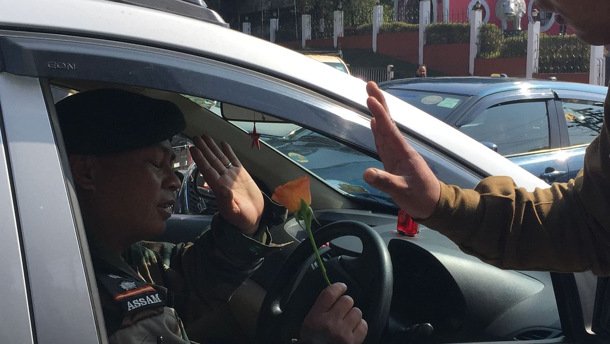An army officer miffed for being stopped