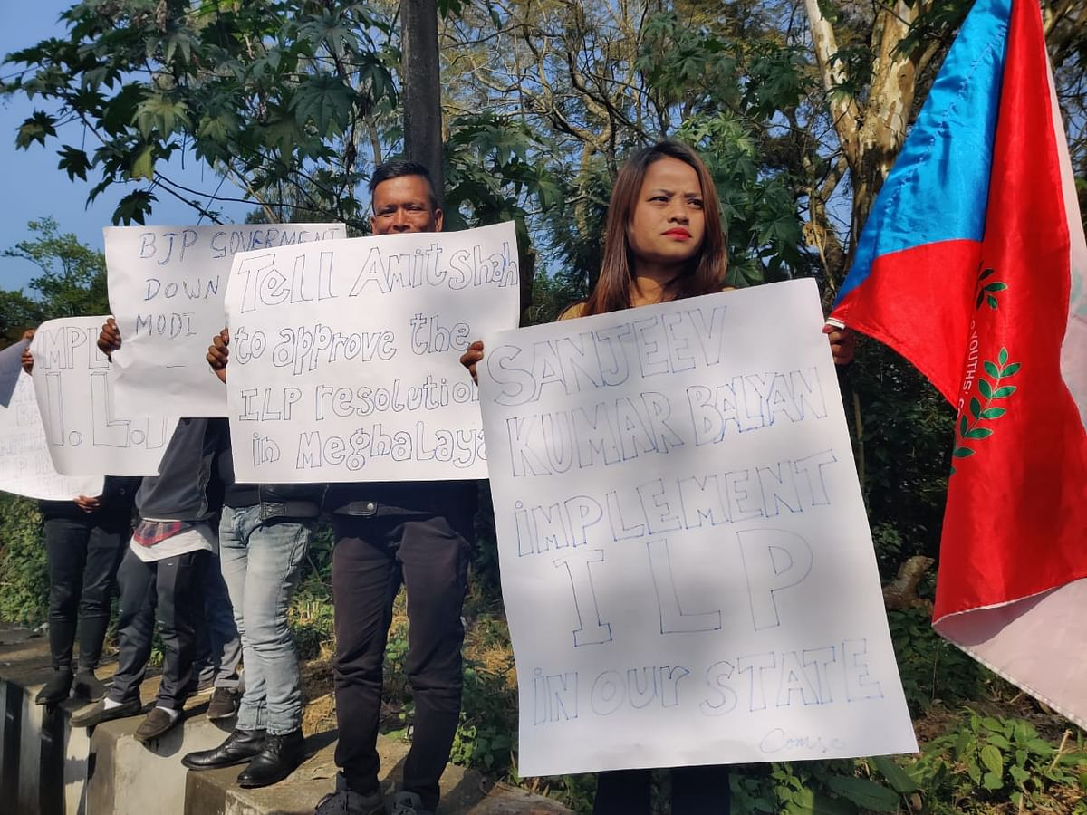 Activists of CoMSO displaying placards to protest BJPs stand on CAA and ILP in Meghalaya