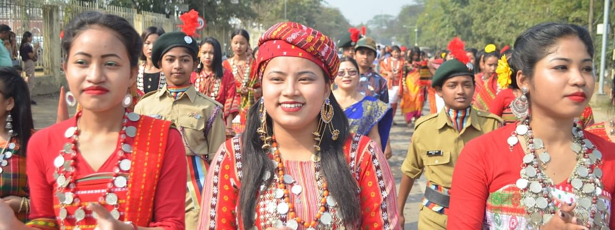 Youths taking out a procession in their traditional attire to mark 42nd Kokborok Day in Agartala, Tripura on Sunday