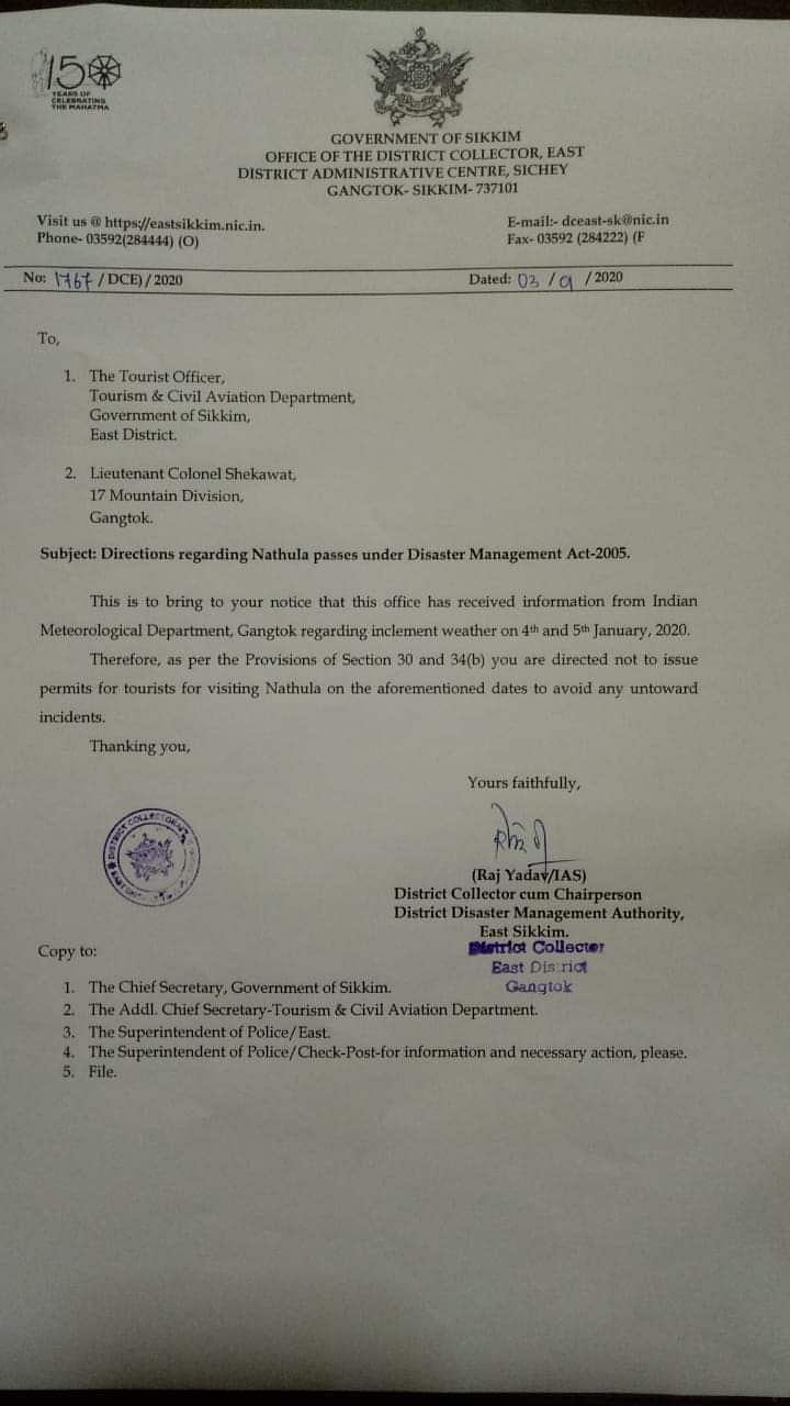 Direction issued by East Sikkim district collector Raj Yadav on Friday