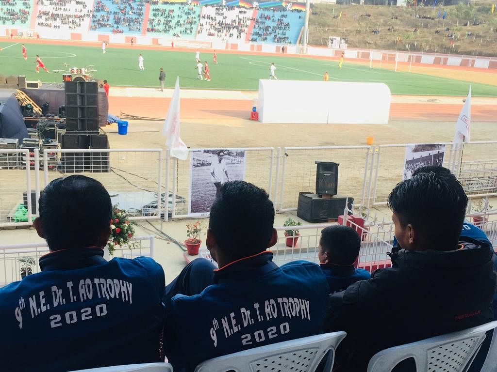 Some match officials of the tournament watching the ongoing semifinal played between Nagaland and Mizoram