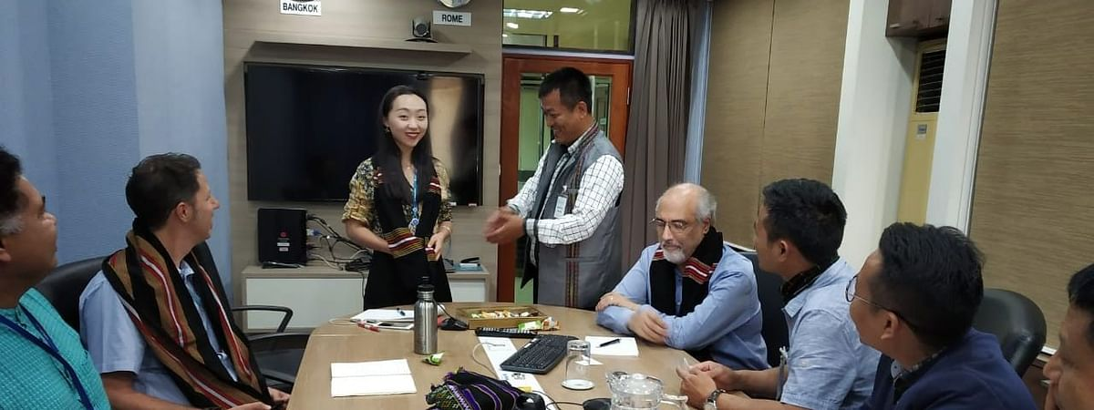 Mizoram state government officials meeting United Nations' regional coordinator of Food and Agriculture Organisation (FAO) Xiangjun Yao in Bangkok
