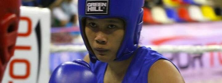 Assam girl Ankushita Boro in action in U-21, 64 kg boxing at 3rd Khelo India Youth Games in Guwahati
