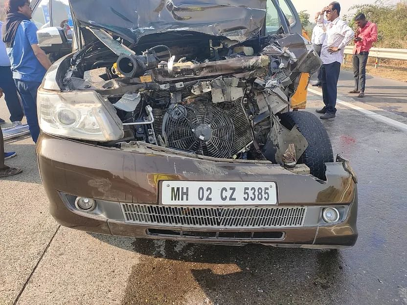 The ill-fated car in which actor Shabana Azmi was travelling