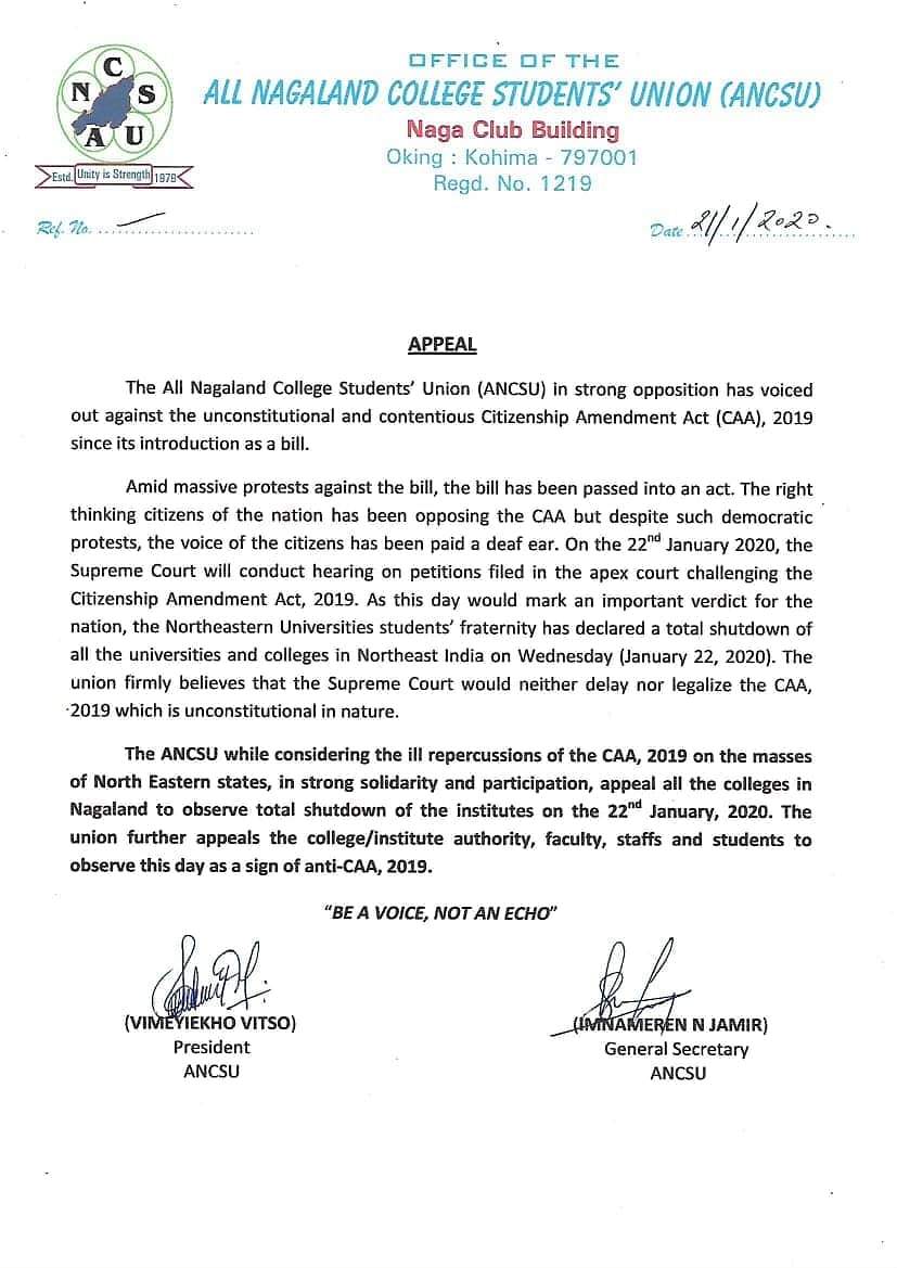 The 'appeal' made by the All Nagaland College Students' Union